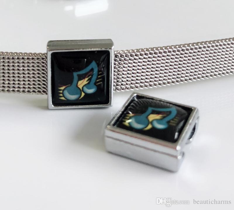 10 pcs 8mm plástico music note impressão praça encantos de slides beads diy acessórios fit 8mm cintos de colarinho pulseiras