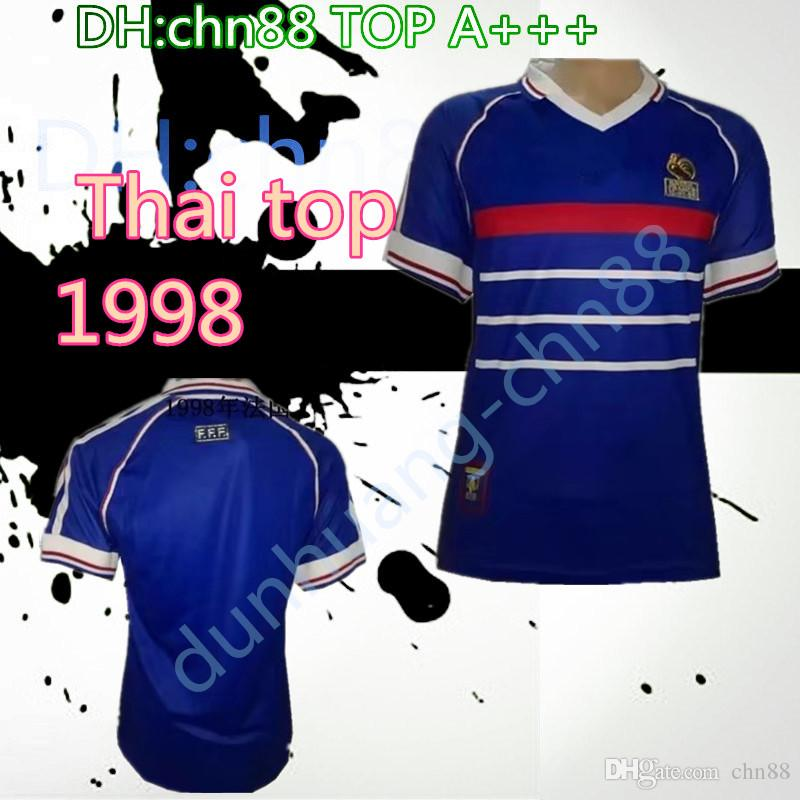 Atacado 1998 FRANCE retro camisas de futebol home top thai 3AAA customzied nome número zidane Henry uniformes de futebol camisas de futebol