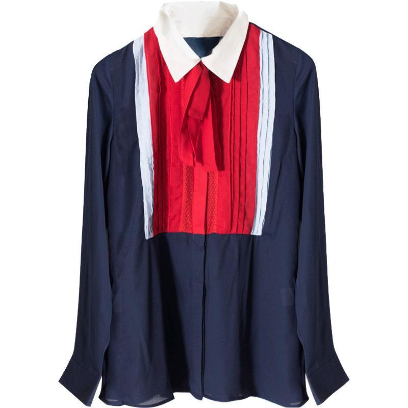 Wiosna Vintage Blue Szyfonowe Bluzki Kobiety 2018 Marka Designer Długi Rękaw Plisowany Koronki Lapel Formalne Biuro Lady Koszula Topy