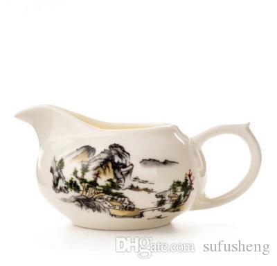 Sıcak satış fist sınıfı porselen manzara Çin adil fincan chahai çevre dostu kungfu çay aracı T295