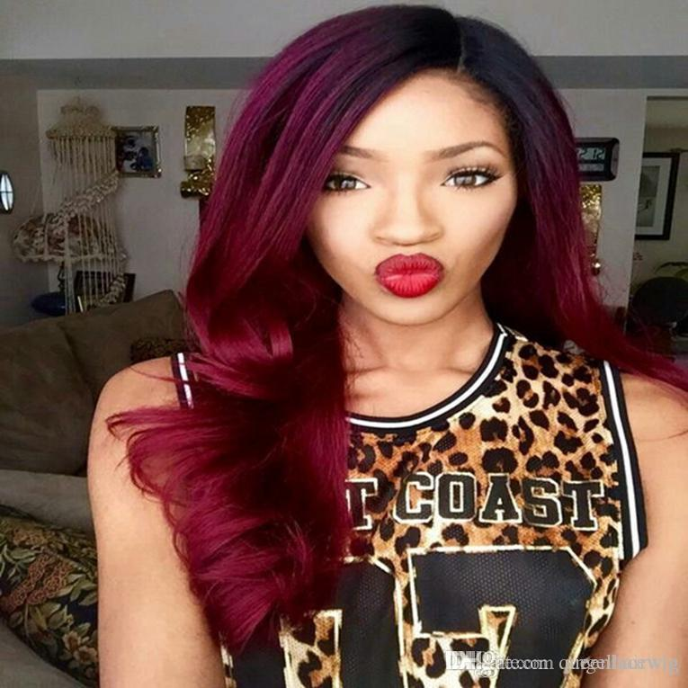 Hot Sexy Burgundy Red Body Wave Long Ombre Wigs with baby hair Glueless Brazilian Synthetic Lace Front Wigs for Black Women Heat Resistant