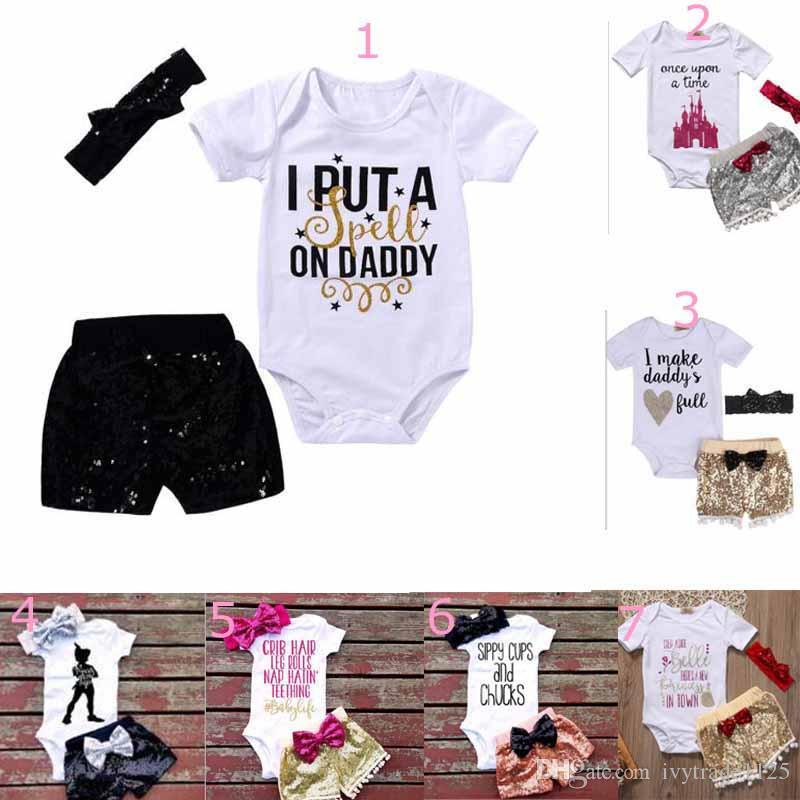 baby clothing girl Kids 3 PCS sets 100%Cotton short sleeve romper + paillette short +headband causal summer girl romper set girl clothes