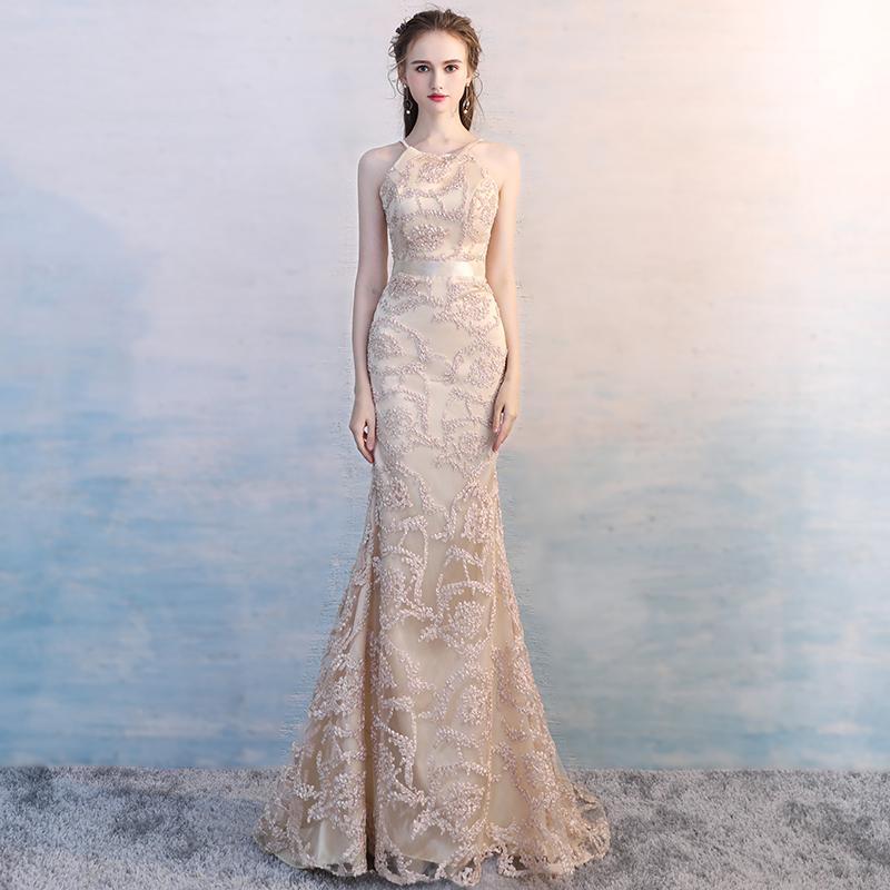 Elegant Champagne Lace Beading Evening Dress Mermaid Evening Gowns Halter Sheer Neck Women Party Dress Zipper Floor Length D26B