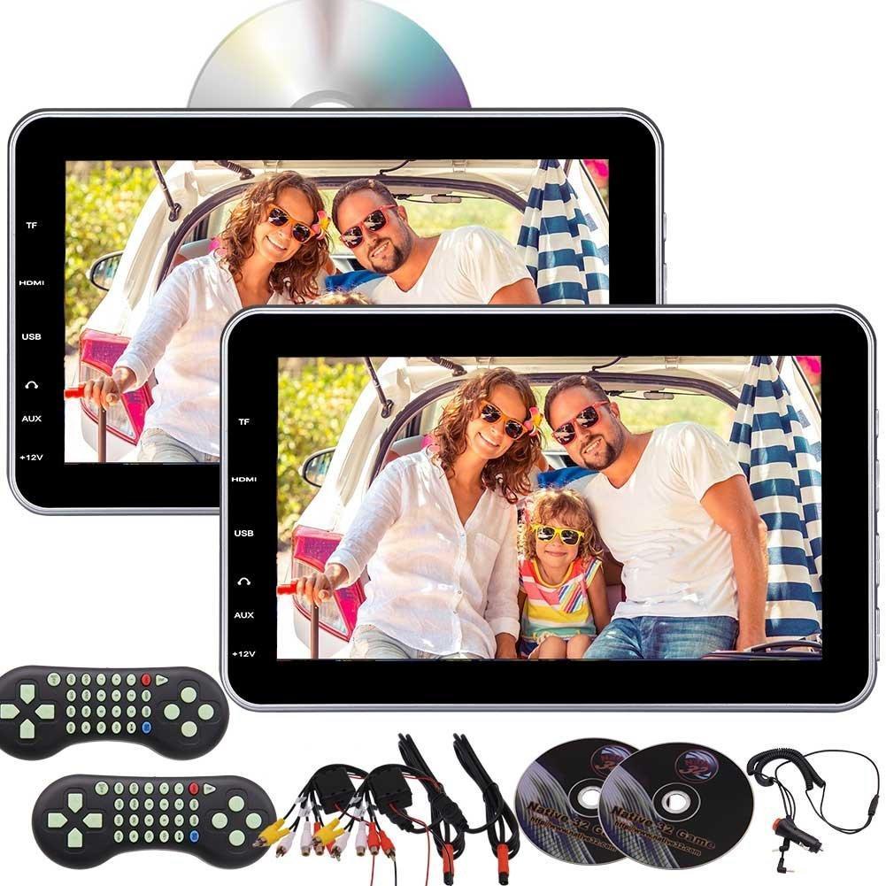 Dual 10.1'' Tablet-Style Car Headrest Multimedia car DVD CD Player IR FM Transmitter HDMI 32G Bits Games USB/SD Reader Built-in speaker