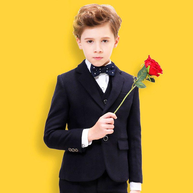 Erkek beyefendi yakışıklı takım elbise üç parçalı takım (ceket + pantolon + yelek) erkek düz renk İnce moda takım elbise destek özel