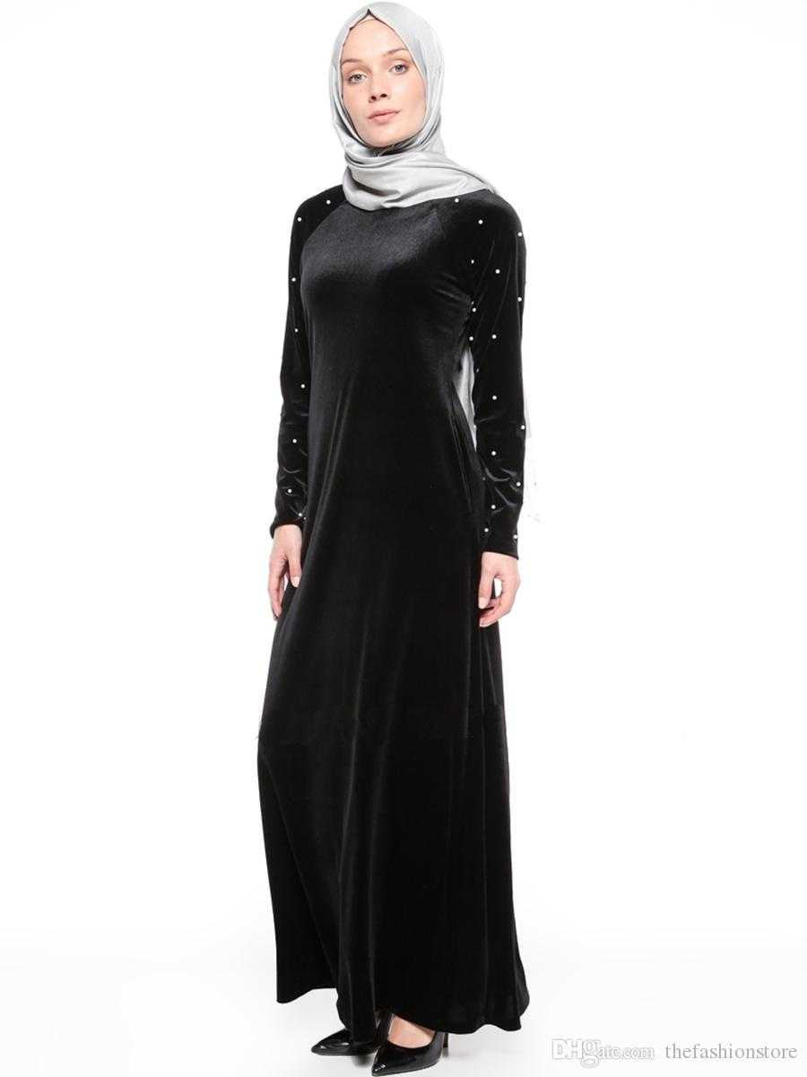 2019 Muslim Women Long Sleeved Velvet Dress Plus Size Islamic Women Bodycon  Robes Evening Party Dress M XL From Thefashionstore, $20.1 | DHgate.Com