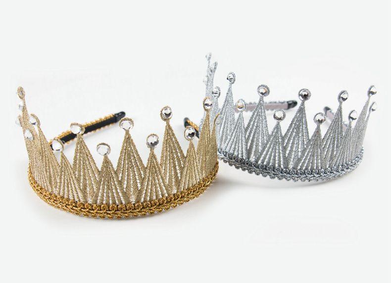 Boutique 5pcs Fashion Royal Tiara Bow Hairbands Solid Glitter Gemstone Crown Bowknot Hard Headbands Princess Hair Accessories
