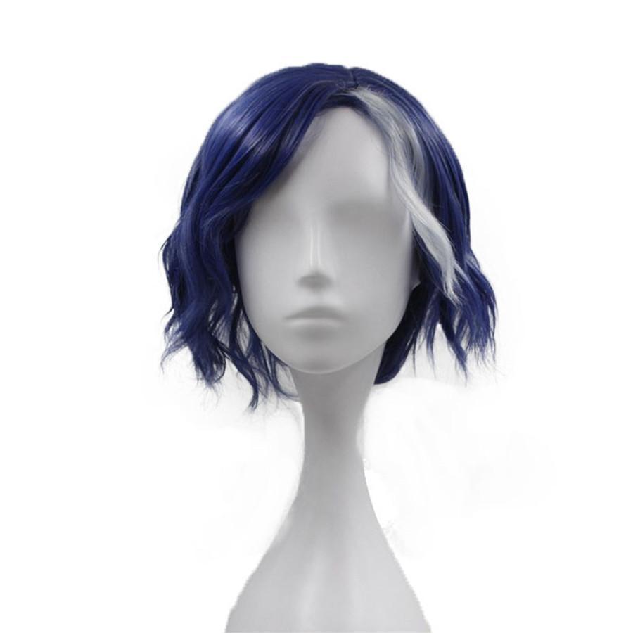 Parrucca sintetica Parrucche Cosplay Blu scuro con frange finte Scorpione piccolo parrucche Bradied Parrucca per capelli economici Perucas