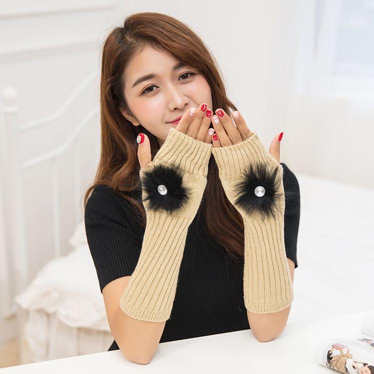 Automne et hiver Han édition nouvelle boule de cheveux monochrome, mode, chaleur, tout autour, manche de bras, gants longs W504