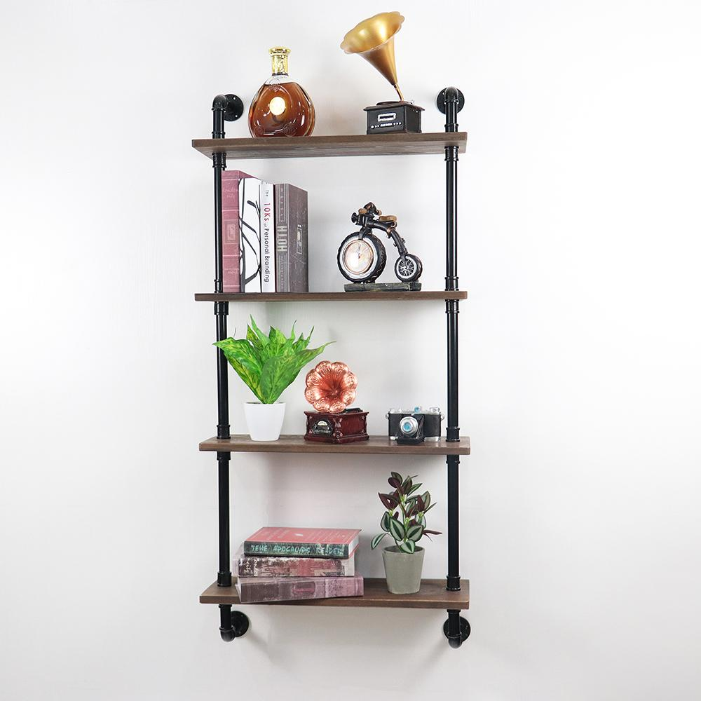 2019 Diy Industrial Pipe Shelving Industrial Retro Wall Mount Iron Pipe Shelf Floating Bracket Diy Storage Shelving Bookshelf With 4 Tier From