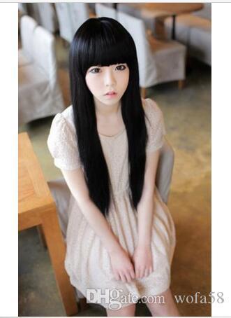 FIXSF707 estilo natural largo negro de moda peluca de pelo recto pelucas para mujeres