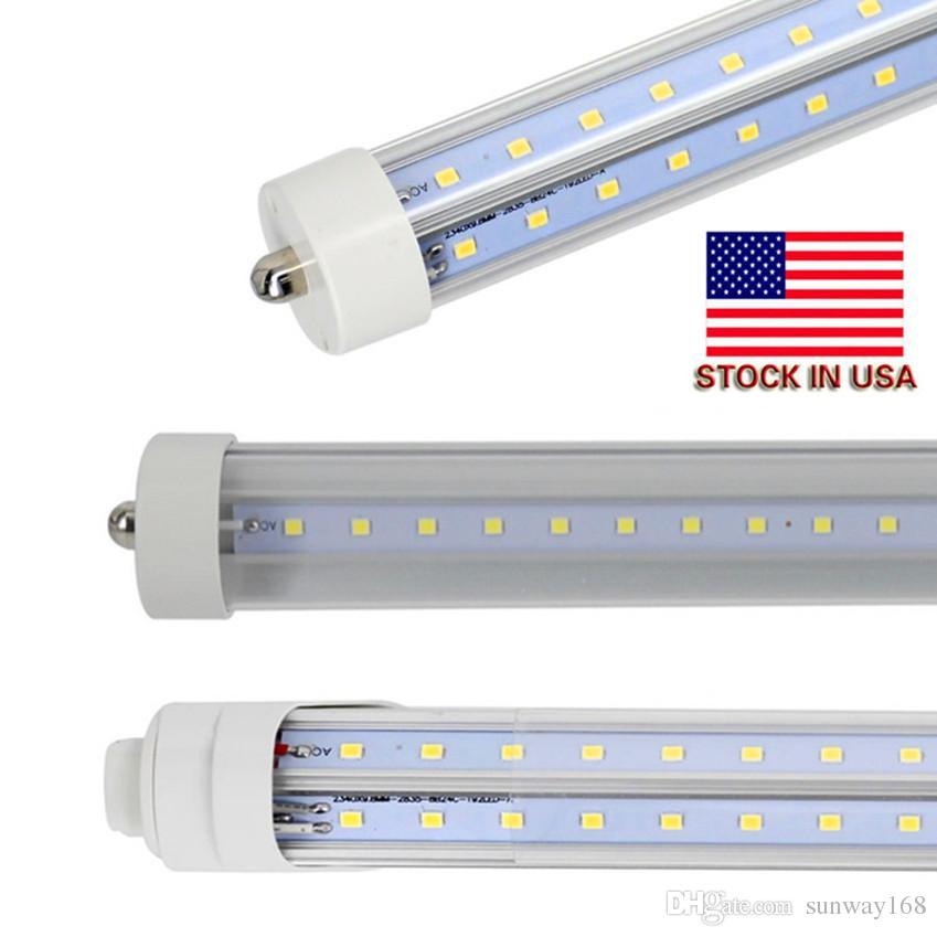 En forma de V-T8 Led tubo enfriador Luz 4 pies 5 pies 6 pies 8 pies solo perno FA8 la luz llevada tubos Lados 270 de doble ángulo AC 85-265V