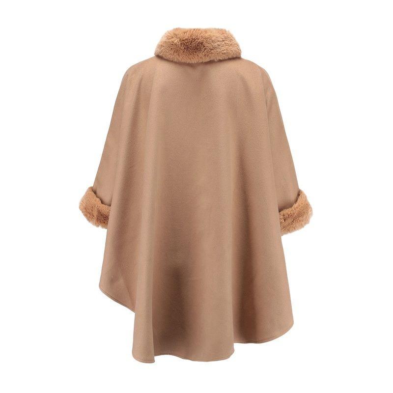 elegant women fur shawl coat fox fur collar double-sided woolen cloak shawl for women ladies female woolen outerwear