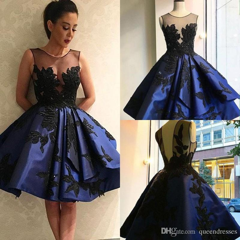 various styles special section great look Latest Navy Blue Short Cocktail Dresses Sheer Jewel With Black Applique A  Line Taffeta Knee Length Evening Gowns Homecoming Party Dresses Sequin ...