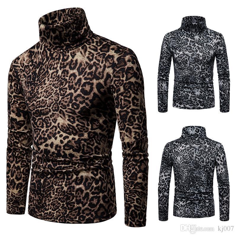 Maglioni invernali Maglioni di lana da uomo a maniche lunghe Pullover Leopard Tuta sportiva da uomo Mantenere caldo abbigliamento Velluto di alta qualità Caldo panno collare alto
