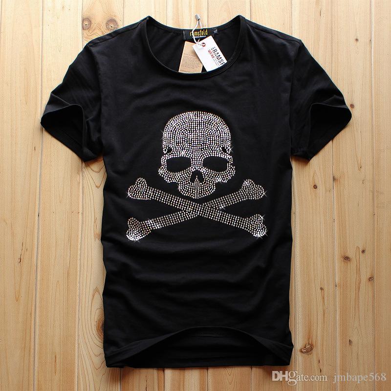 JM высокое качество мужская с короткими рукавами круглый воротник skullhead горячей дрель футболка летом новый стиль половина рукавами нижней рубашки