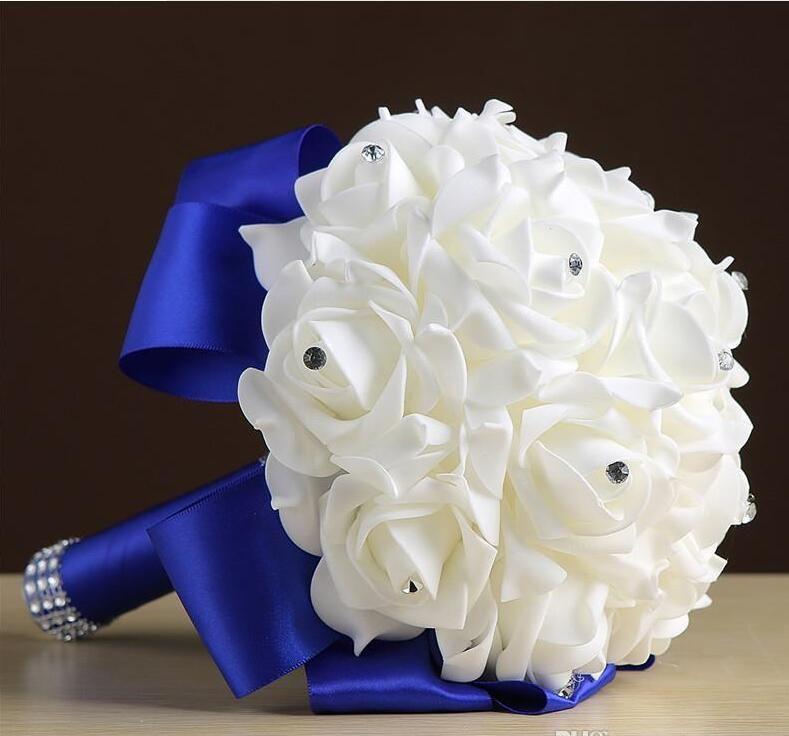 Decoración de la boda hecho a mano caliente dama de flores de la espuma rosa nupcial Bridemaid Ramo de la boda de raso blanco Ramos de boda romántica CPA1549