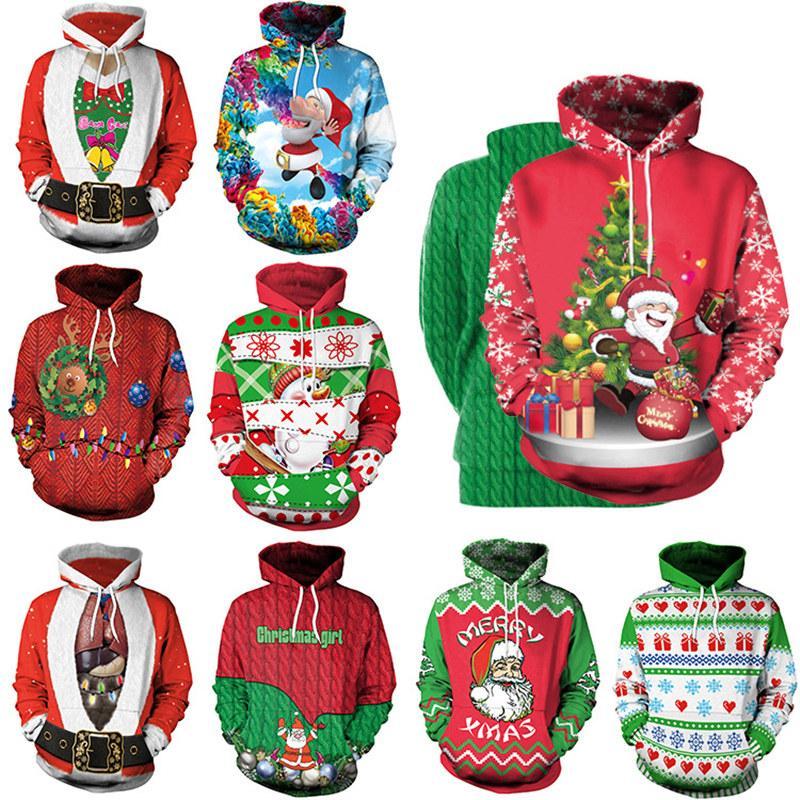 Fashion Christmas Couples Sweaters Women Casual Sweatshirts Unisex Santa Claus Digital Printing Sportswear Novelty Xmas Hoodies with Hat