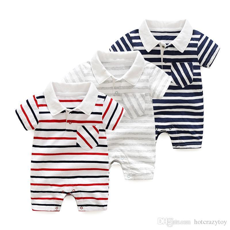 Novo bebê menino Romper verão listrado manga curta algodão macacão roupa infantil bebê menina Romper New Born bebê roupas meninos