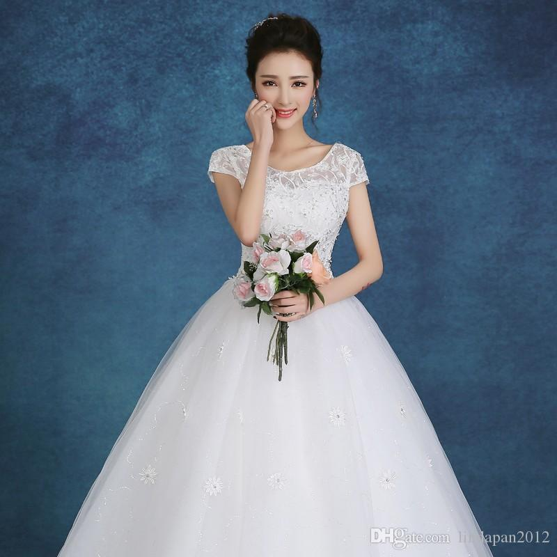 Custom Made 2017 New Short Sleeves Princess White Wedding Dresses ...