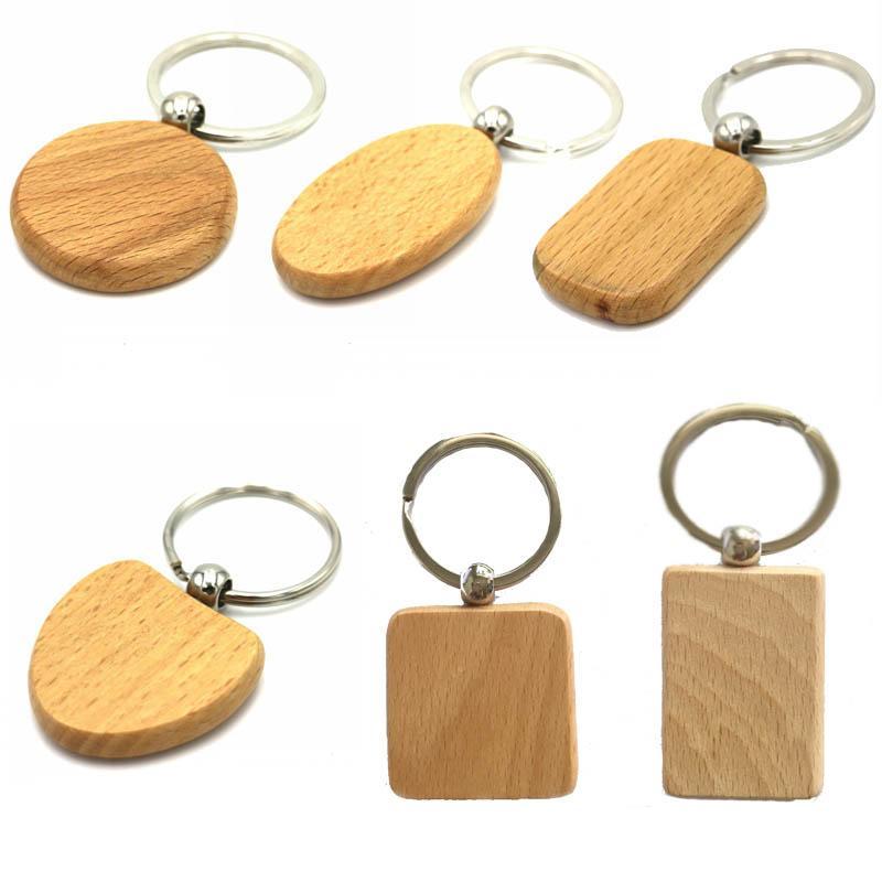 빈 나무 Keychains DIY 간단한 타원형 라운드 사각형 사각 하트 모양의 열쇠 고리 나무 열쇠 고리 자동차 펜던트 키 홀더 액세서리 G199F