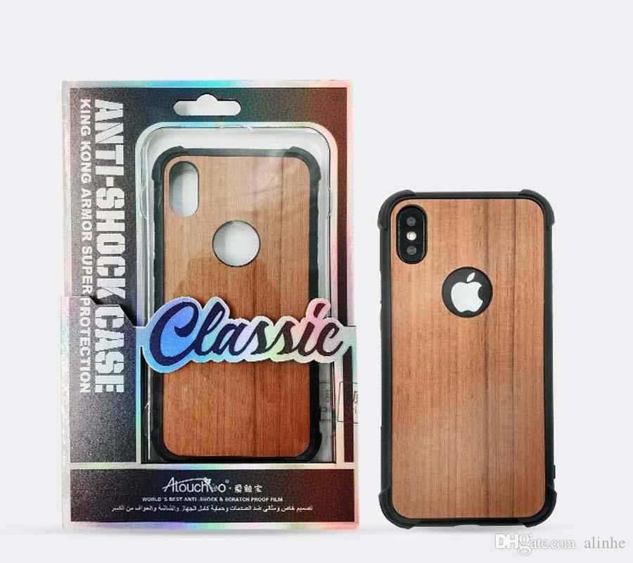 wood grain shatterproof tpu phone case for iPhone 6 6S Plus 7 8 Plus Back Cover Shockproof Cases with retail packaging DHL fress shipping