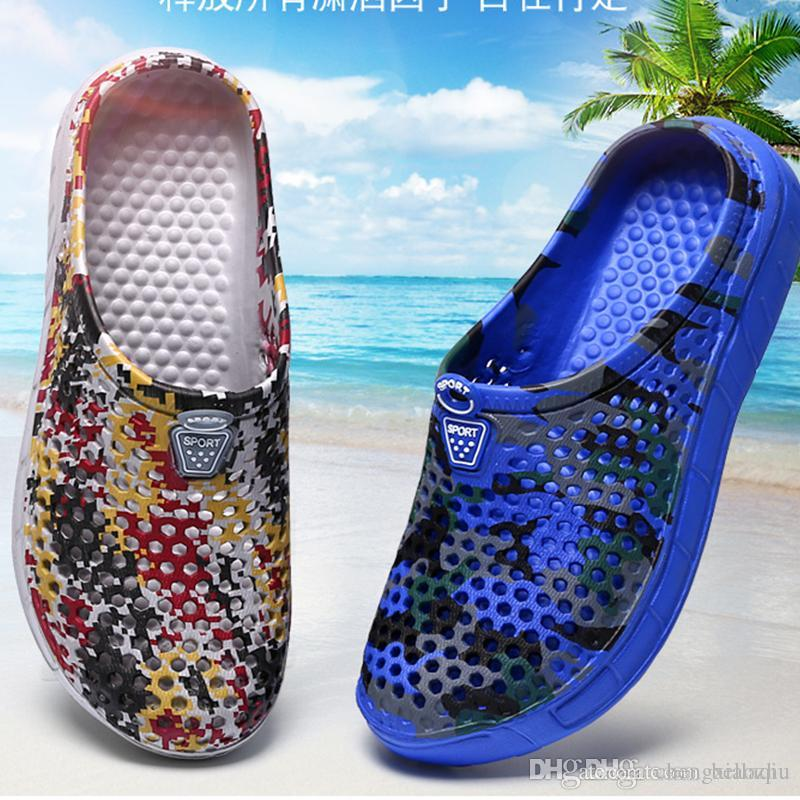 Fashion Men Flat Heel Shoes Casual Sandals Beach Hollow out Flip Flops Slippers