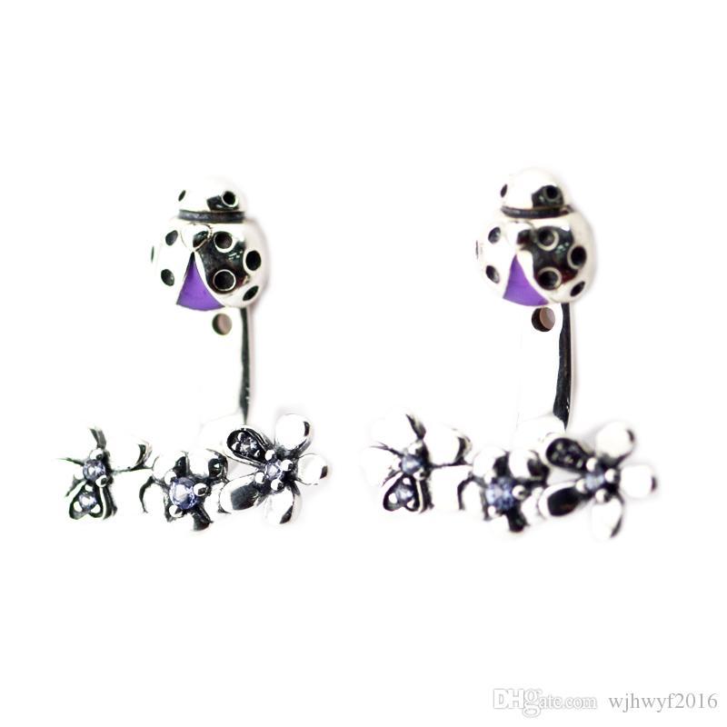 2018 Autumn New Original 100% 925 Sterling Silver Ladybug Meadow Jacket Earrings, Purple Enamel & Crystal for Women Fine Jewelry