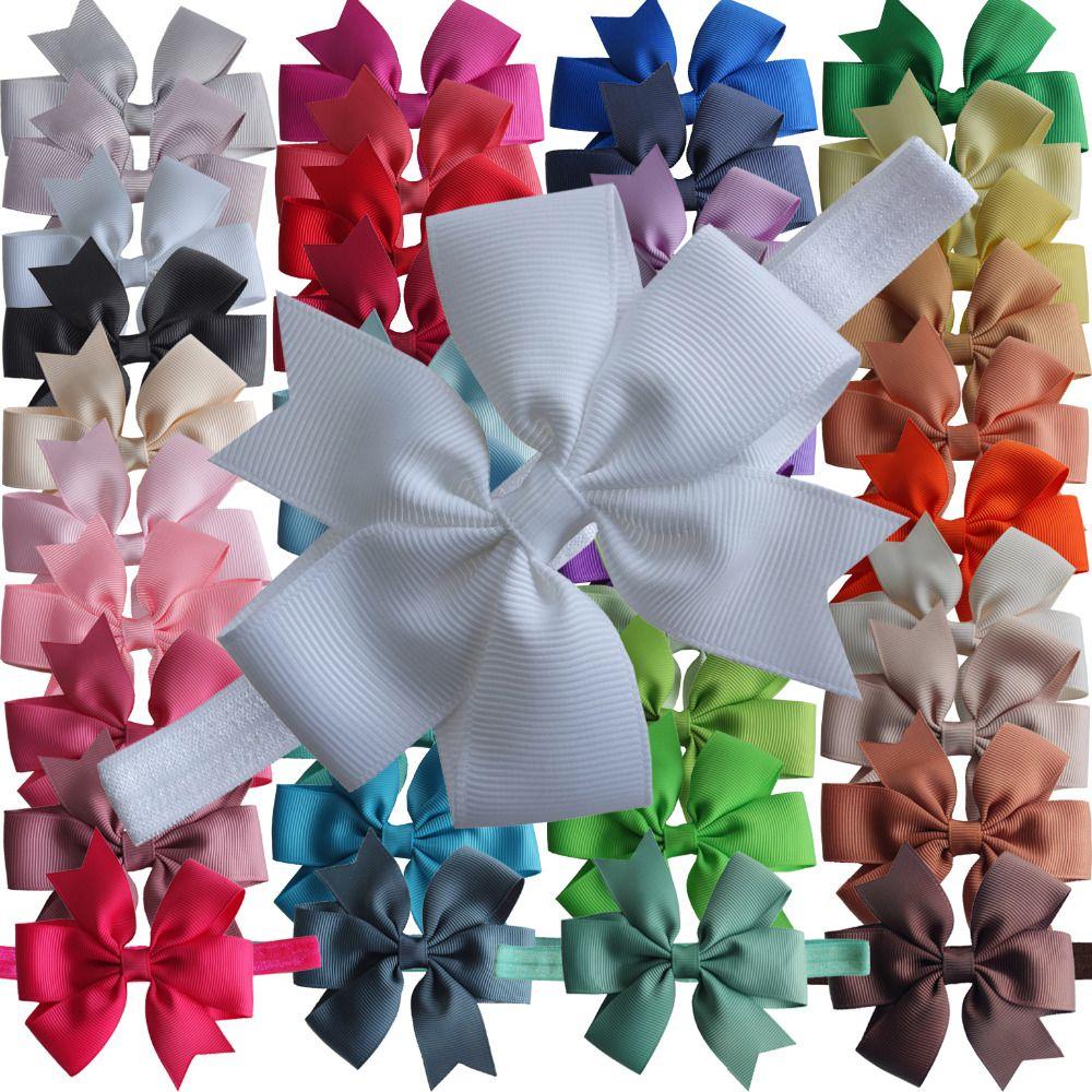 40Pcs Hair Bow Hair Tie for Baby Girls Kids Ribbon Pinwheel Bows Elastic Bands