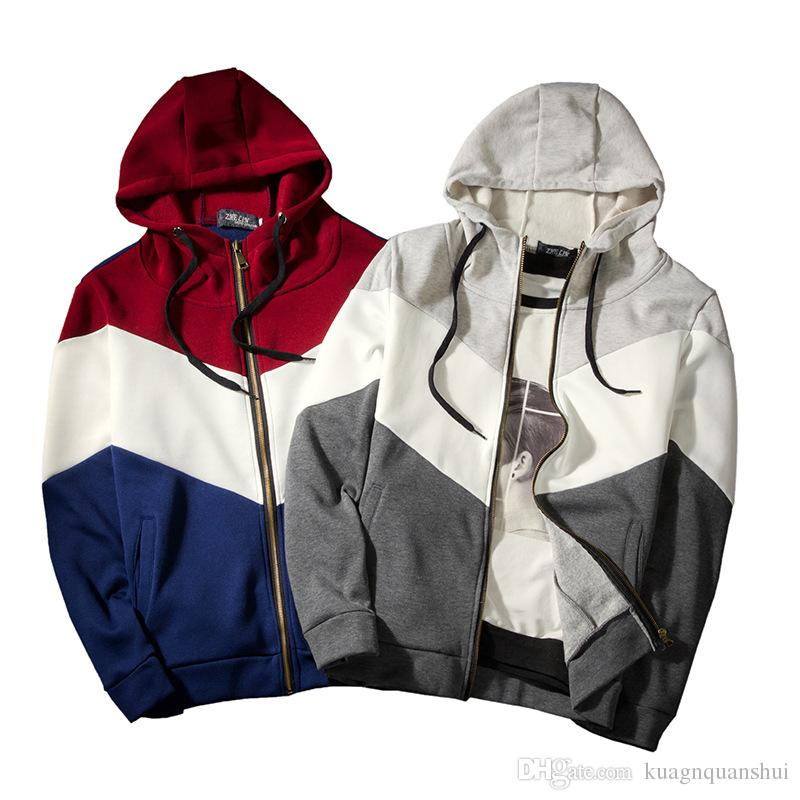 Wholeslae-ücretsiz kargo moda gelgit marka erkek Kazak Rahat erkek Zip Hırka Kapşonlu Üç Renkli Dikiş Gevşek erkek Ceket