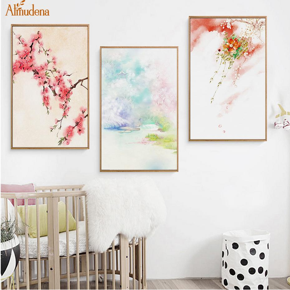Landscape Cherry Blossoms Canvas Paintings Chinese Style Mountain Abstract Poster Nordic Wall Art Picture Home Decor