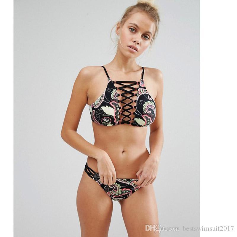 Hot Swimwear for Womens Bikini Set 2018 New Sexy Cutout High Neck Swimsuit Women Beach Swimwear Female Print Bathing Suits Biquinis Feminino