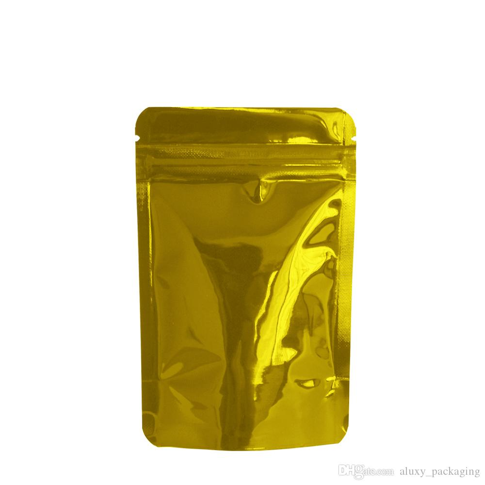 100pcs/lot 8.5*13cm Golden Zipper Ziplock Stand Up Aluminum Foil Bag Heat Sealable Mylar Packing Bag Dried Food Tea Snacks Storage Pack Bags
