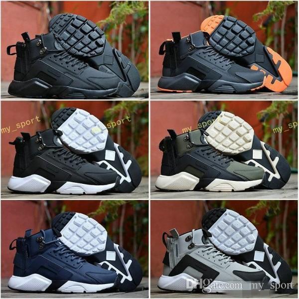 2018 New Air Huarache 6 X Acronyme Ville MID En Cuir Haut Haut Huaraches Chaussures De Course Hommes Sports huraches Baskets Hurache Zapatos Taille 7-11