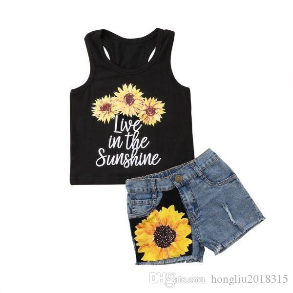 Summer Black Baby Girl Kids Summer Outfits Sleeveless Flower Print Vest Tops Shorts Jeans Pants 2Pieces Clothes Suit Set KA793