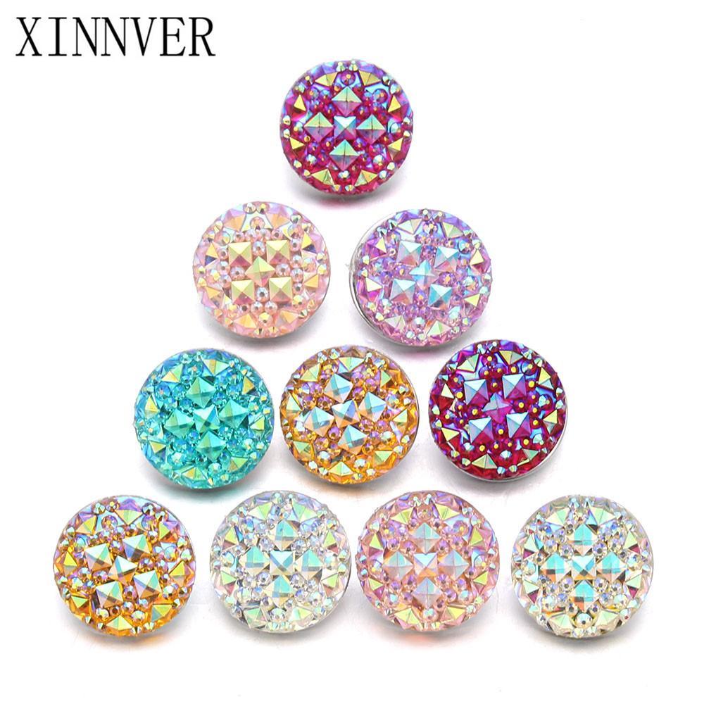 10pcs / lot mixte 18mm s'enclenche en alliage de résine de mode Snaps Boutons Fit xinnver Snap bijoux s'enclenche Bracelets