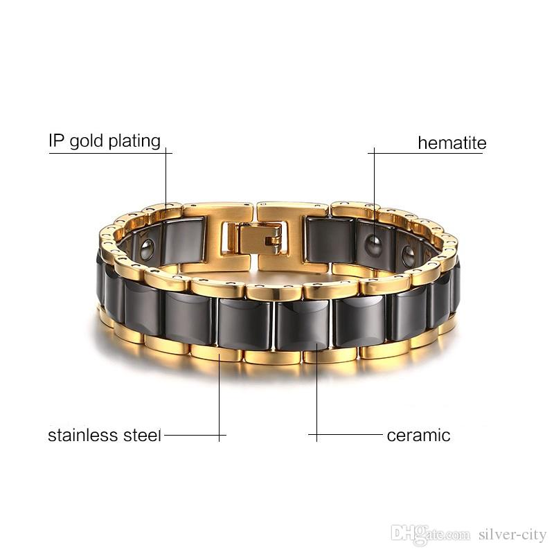 Dropshipping brand new top quality men's 316L stainless steel ceramic bracelet magnets bracelets hematite fashion jewelry factory 089