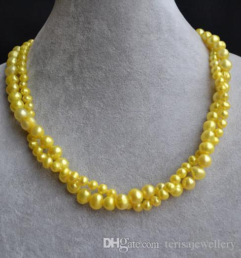 Neuer Arriver Yellow Pearl Jewellery, 18inches 6-9mm 2 Stränge Süßwasser Perlenkette, Hochzeit Brautjungfern Geschenk, perfekte Frau Geschenk