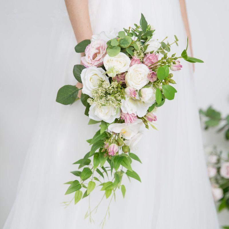 Bouquet Cascata Sposa.Acquista 2018 Artificiale Avorio Rosa Sposa Mazzi Cascata Fiori Da
