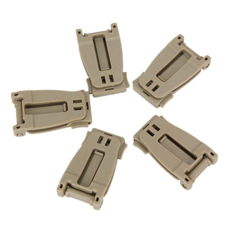 5 PCS Boucle kit de brousse Connecter le lien de sangle Sac à dos tactique Sac à sangle webdom Clip de ceinture fermoir Outils de randonnée de camp en plein air
