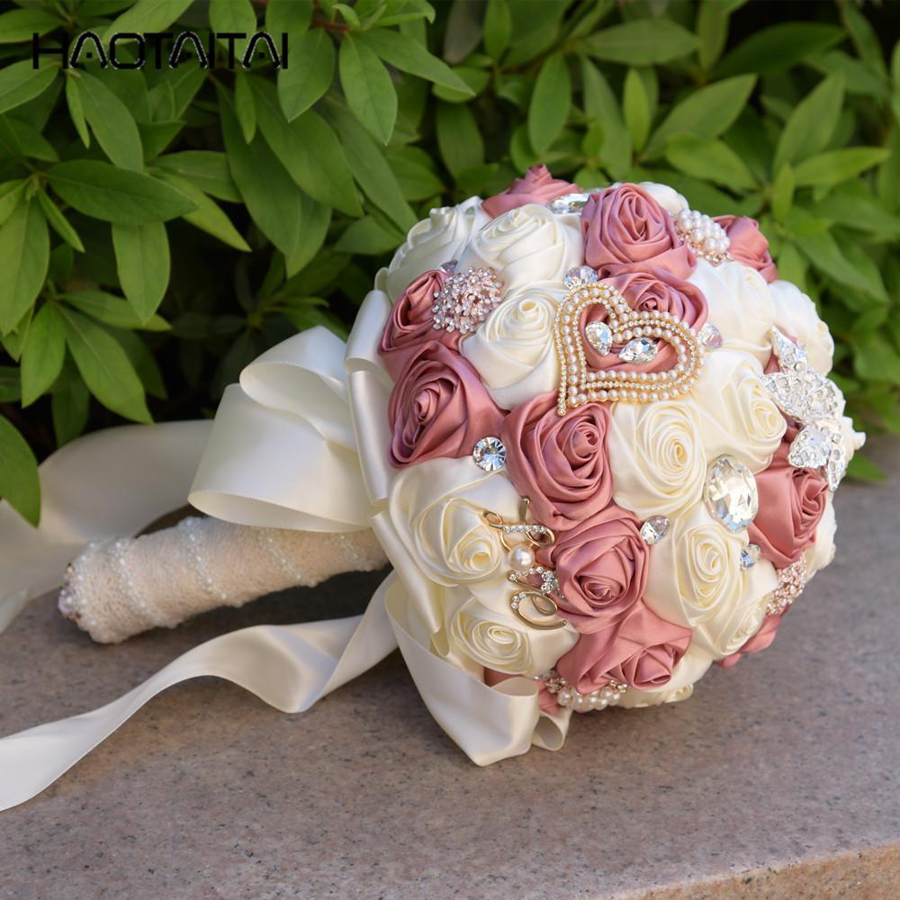 Hochzeiten Bridal Bouquet Pink Elfenbein Luxuriöse Perlen Brosche Einzigartige Braut mit Blumen Hochzeit Blumen Perlen Hochzeit Bouquet