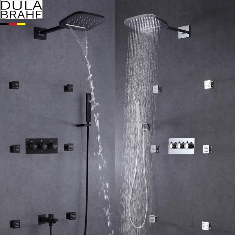 DULABRAHE 폭포 욕실 샤워 믹서 꼭지 세트 벽에 장착 된 비 목욕 샤워 헤드 탭 블랙 / 실버 온천과 콜드 샤워 밸브