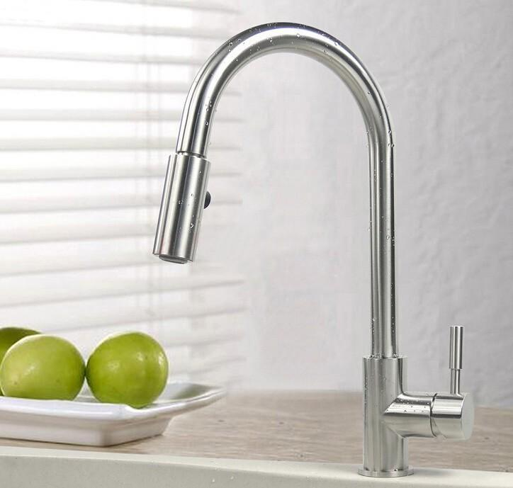 Free shipping SUS 304 Stainless Steel Pull Out Spring brushed Kitchen Faucet,Deck Mounted Spray Kitchen Mixer Tap 588