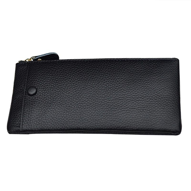 Morbido cuoio genuino pochette Ladies Cashcards Organizer sottile lungo portafogli borsa casual donne Zipper Phone Pocket Holder