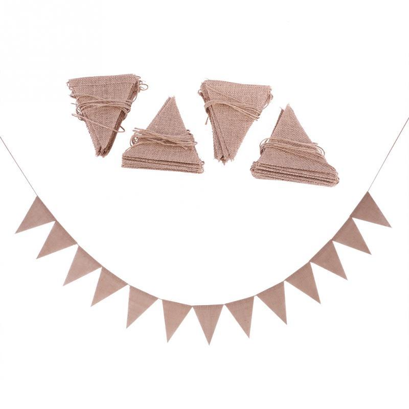 Linen Bunting Flags Wedding Party Holiday Celebration 48pcs/set DIY Decoration Suitable Hang In Home Garden Etc