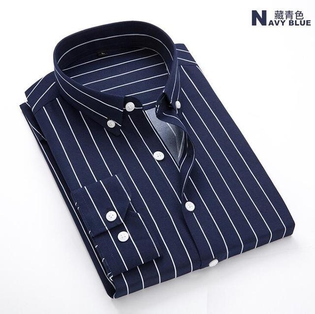 Men New Shirt Striped Long Sleeves Mens Dress Cotton Shirts Camisa Masculina Spring Summer Brand Casual Male Shirt Tops 5xl