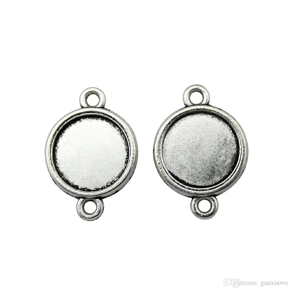 40 Pieces Cabochon Cameo Base Tray Bezel Blank Diy Jewelry Findings Simple Connector Inner Size 12mm Round Necklace Pendant Setting