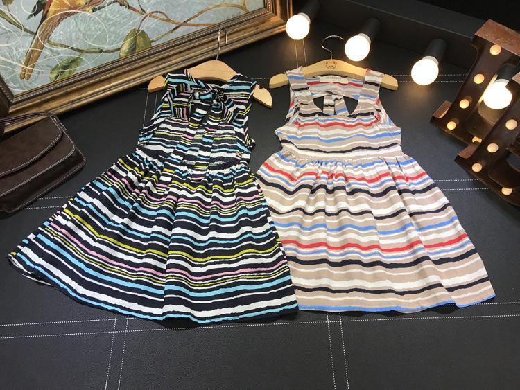 Bestime Bohemia Girl Dress Summer 2017 Children Clothes Cotton & Linen Bow Striped Dress for Kids Fashion Girls Beach Dress