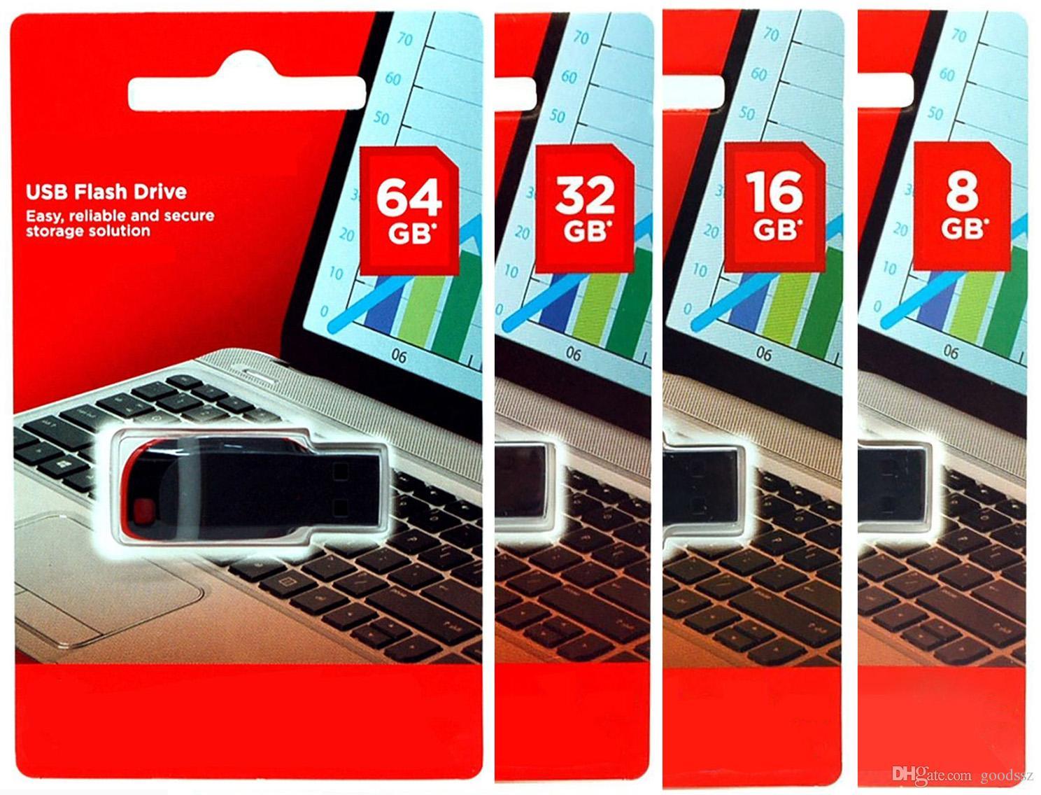 100% de capacité réelle Clés USB 4 Go 8 Go 16 Go 32 Go 64 Go USB 2.0 Mémoire Bâtons de mémoire en plastique U Mémoire Stick Haute Vitesse