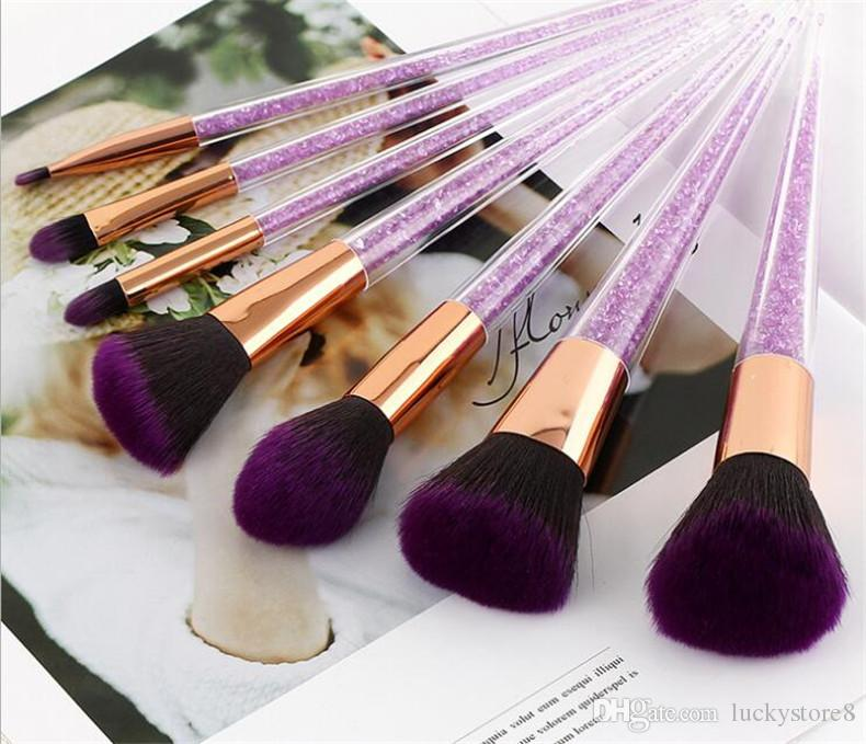 Newest 7pcs Purple Crystal Makeup Brushes With Diamond Makeup Brush Black Purple Brush Cosmetic Set Blusher Foundation BB Cream